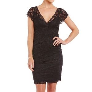MARINA Dresses - Marina | Black Layered Lack Cocktail Dress